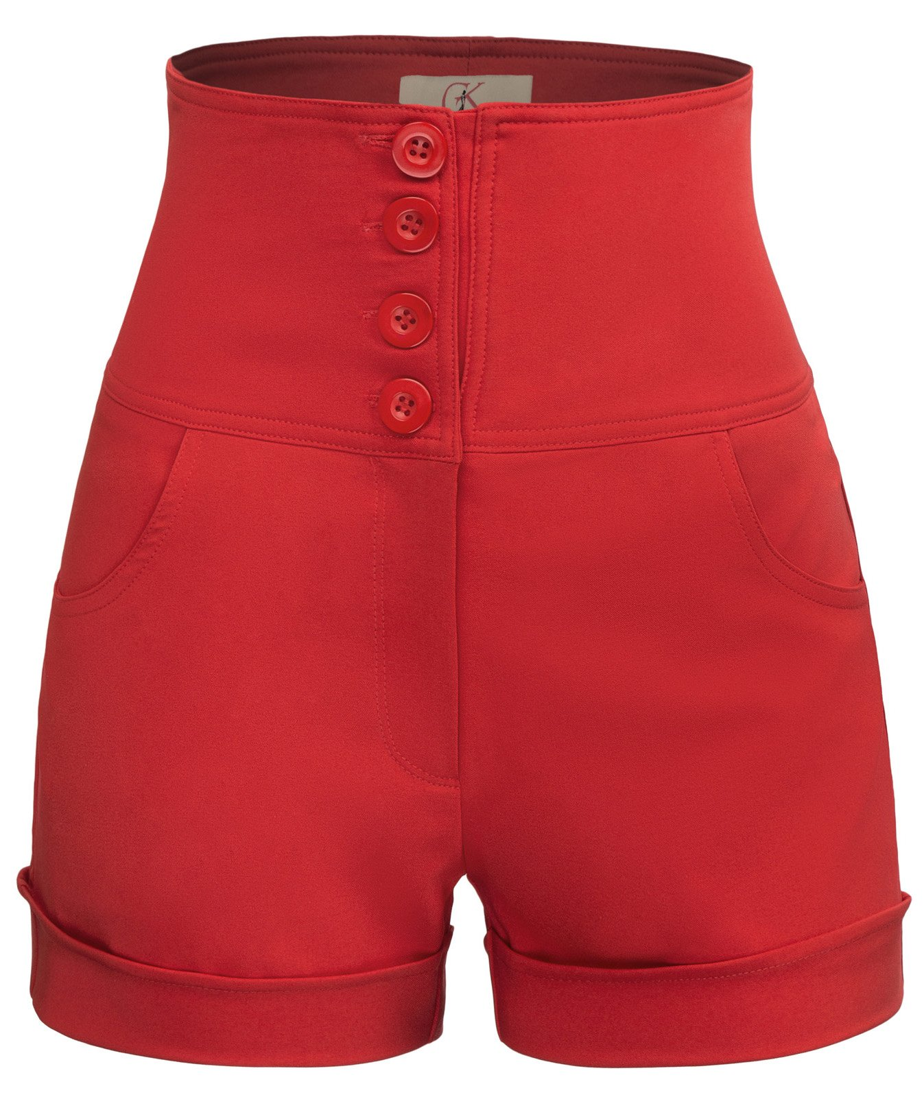 GRACE KARIN Women's High Waisted Sailor Shorts with Pockets Size M Red…