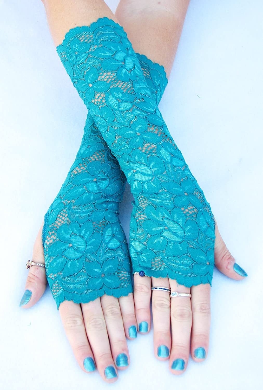 Teal Green Fingerless Lace Gloves