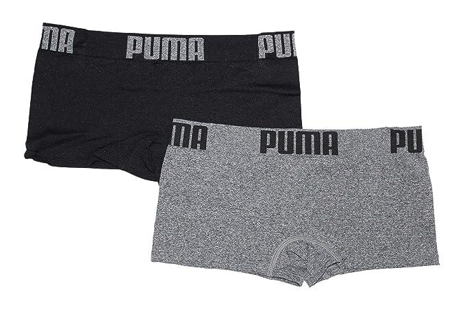 PUMA Women s 2-Pack Seamless Wide Waistband Big Logo Super Soft Sport  Stretch Boyshort Panty 91cf9639fc7