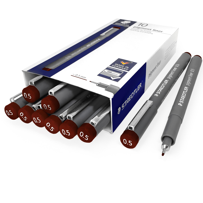 Staedtler 308 Pigment Liner Fineliner - 0.5mm - Pack of 10 - Brown