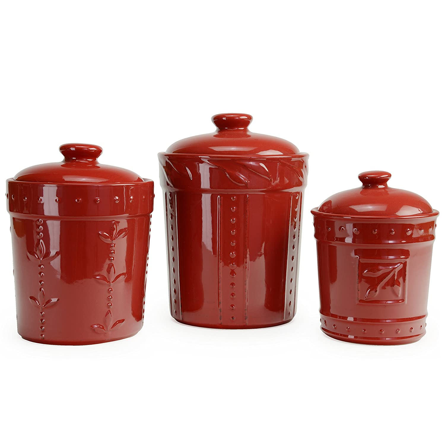 Signature Housewares Sorrento Collection Set of Three Canisters, 80 Ounce, 48 Ounce, 36 Ounce, Ruby