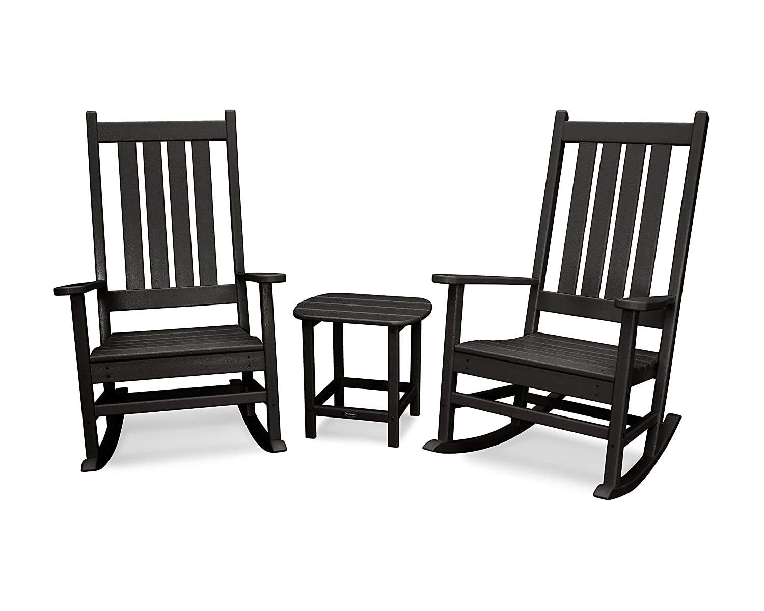POLYWOOD Vineyard 3-Piece Rocking Set Black