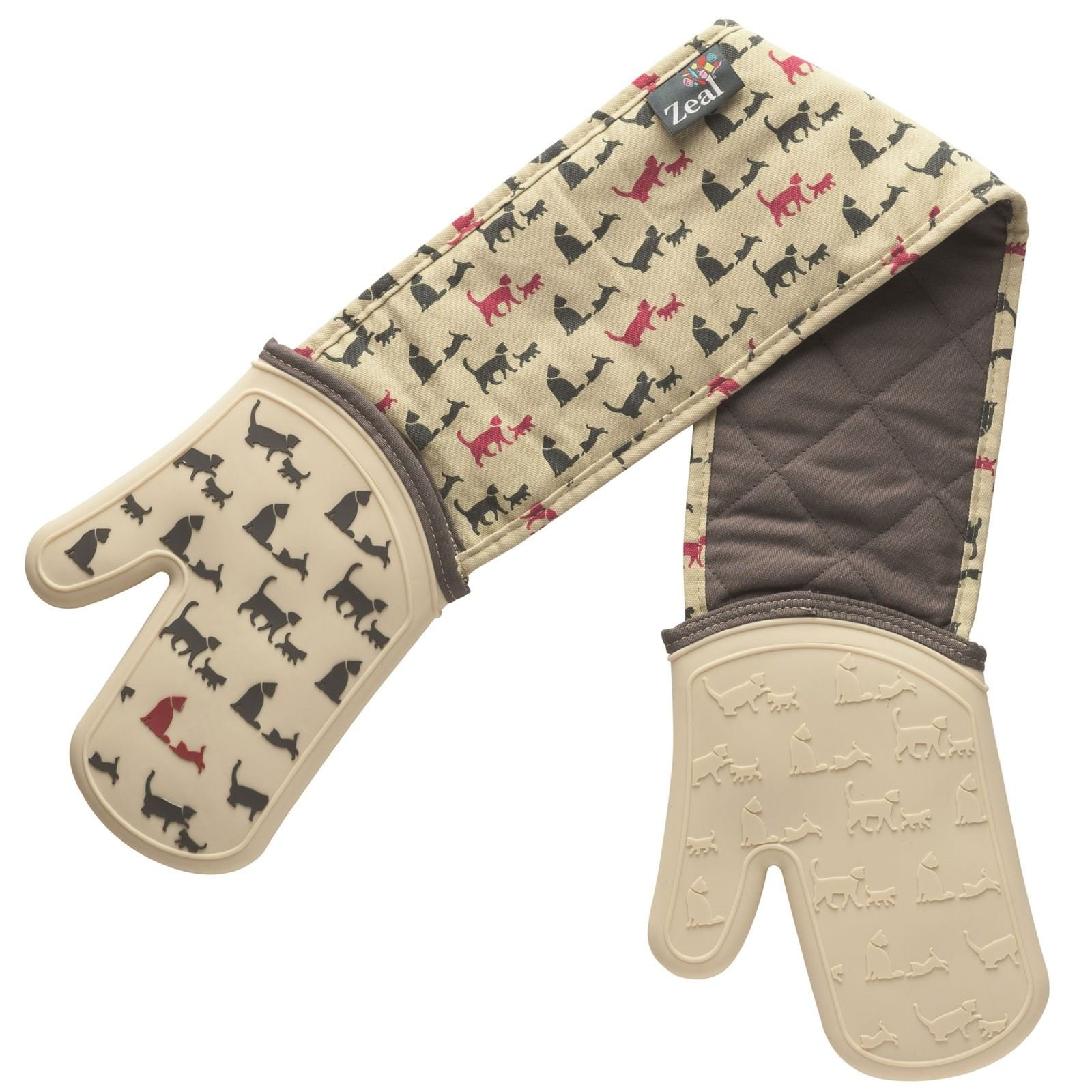 Zeal Steam Stop Silicone Waterproof Oven Mitts/Gloves, Cats Design by Zeal (Image #1)