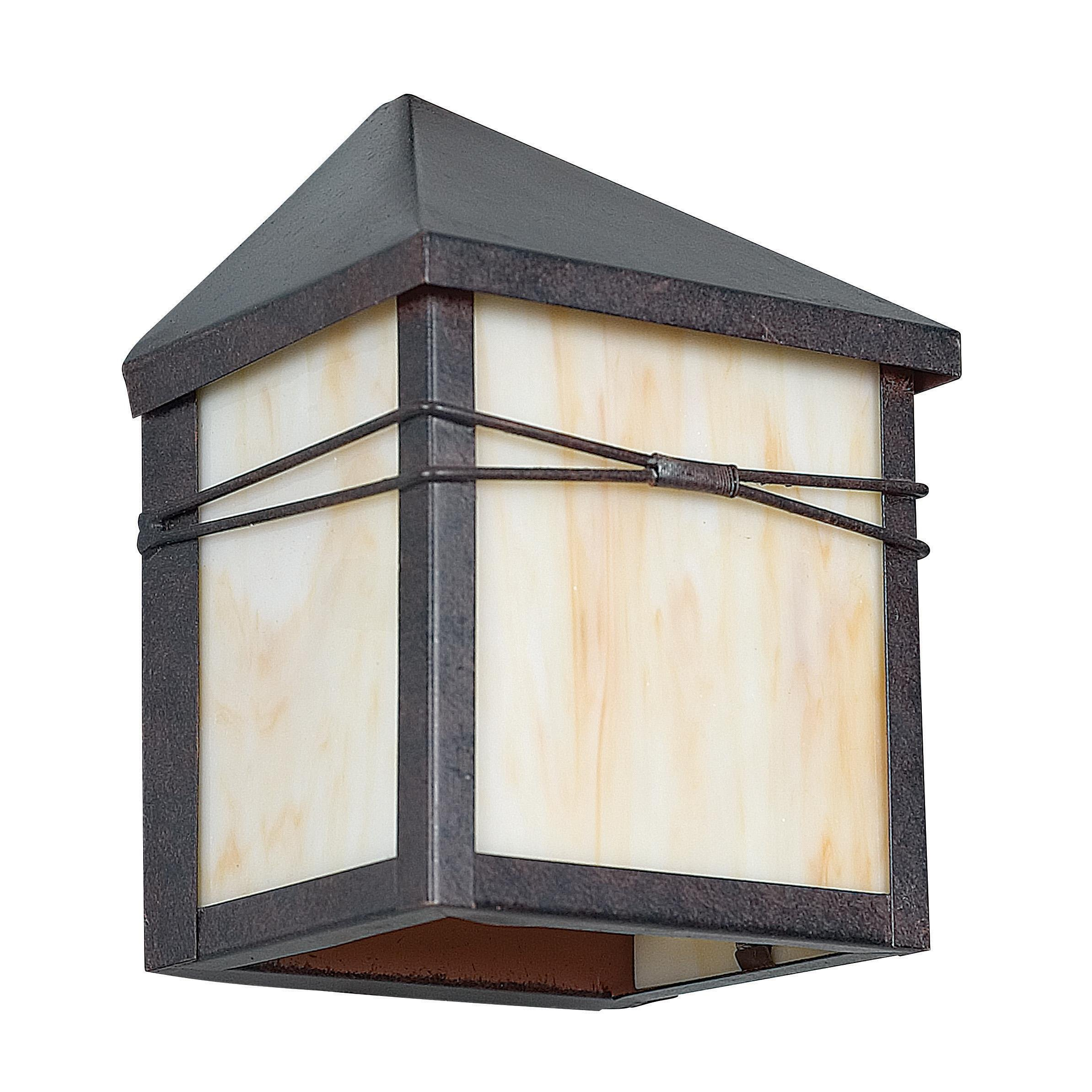 Sunset Lighting F4650-62 Outdoor Wall Sconce with Honey Glass, Rubbed Bronze Finish