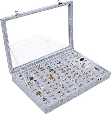 BELLE VOUS Caja Expositora para Anillos 100 Ranuras - Organizador ...