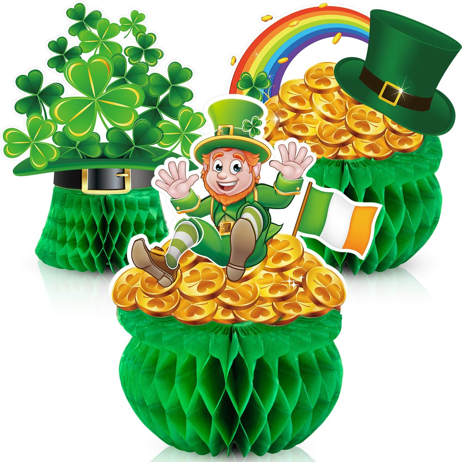 Patricks Day Top Hat Pot of Gold and Shamrock Clovers Room Wall Decor with Assorted Print Design Holiday Decoration Wall Stickers with Self Adhesive Back St