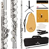 Cecilio High Grade Student C Flute Package in Silver Nickel Plated with 1 Year Warranty