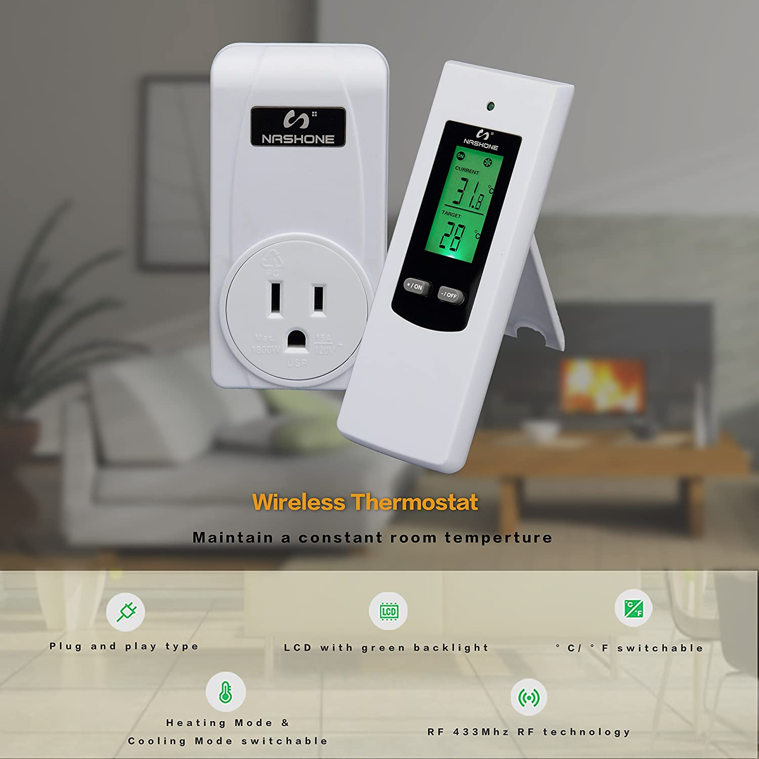 Nashone Wireless Temperature Controller Electric Thermostat With Remoteoperated Alarm Circuit Eeweb Community Remote Control Built In Temp Sensor 3 Prong Plug Lcd Display Heating Cooling Modewirelss