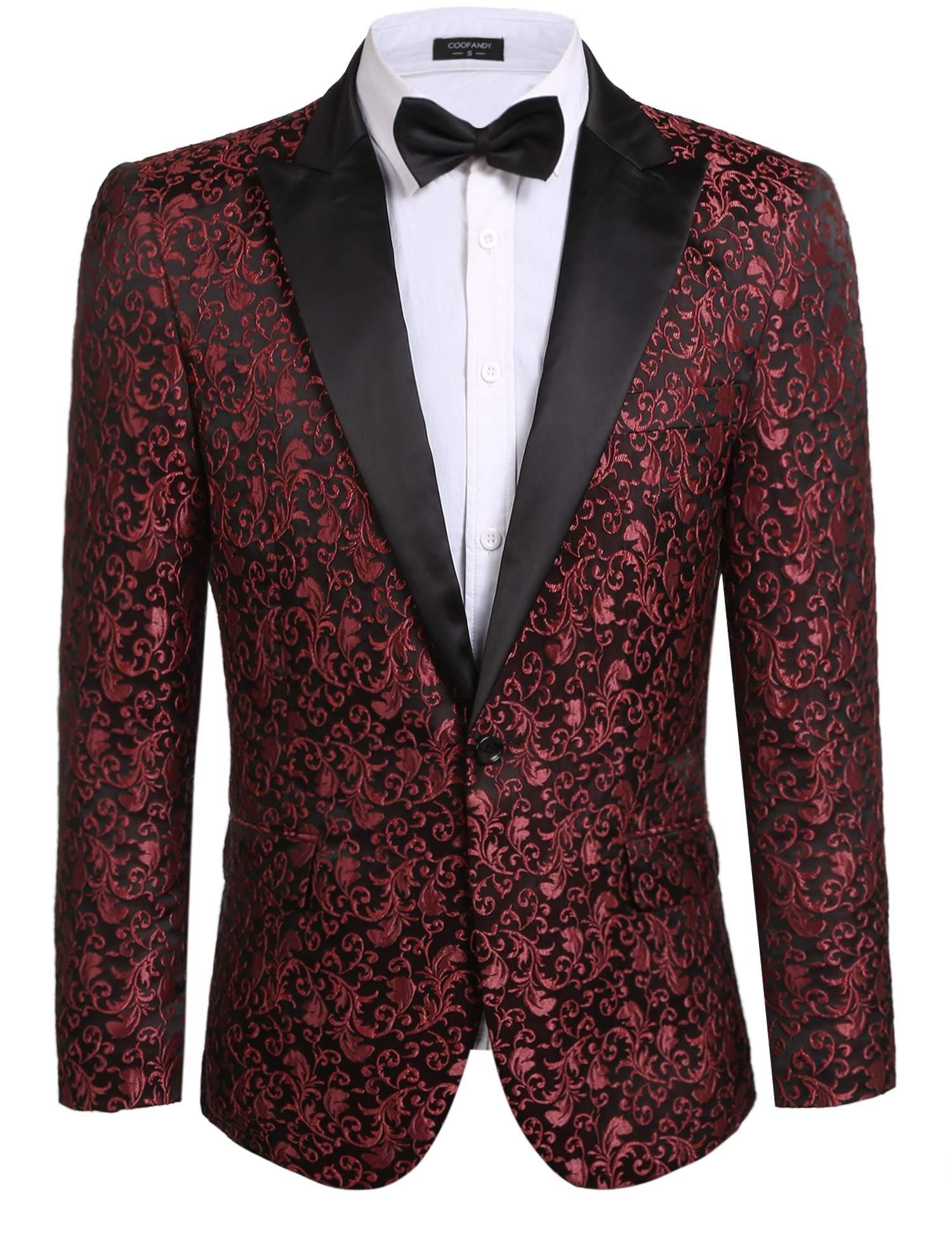 JINIDU Men's Floral Party Dress Suit Stylish Dinner Jacket Wedding Blazer Prom Tuxedo