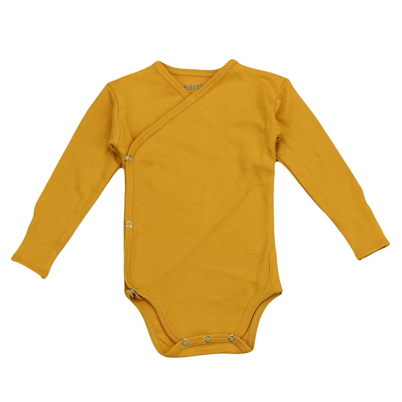 100/% Organic Cotton Earthy Organic Baby Long Sleeve Kimono Bodysuit Boy Girl 8 Sizes: Preemie-24M