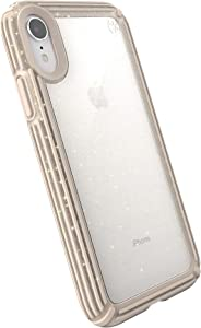 Speck Products Presidio V-Grip iPhone XR Case, Clear with Gold Glitter/Calfskin Brown (120253-7730)