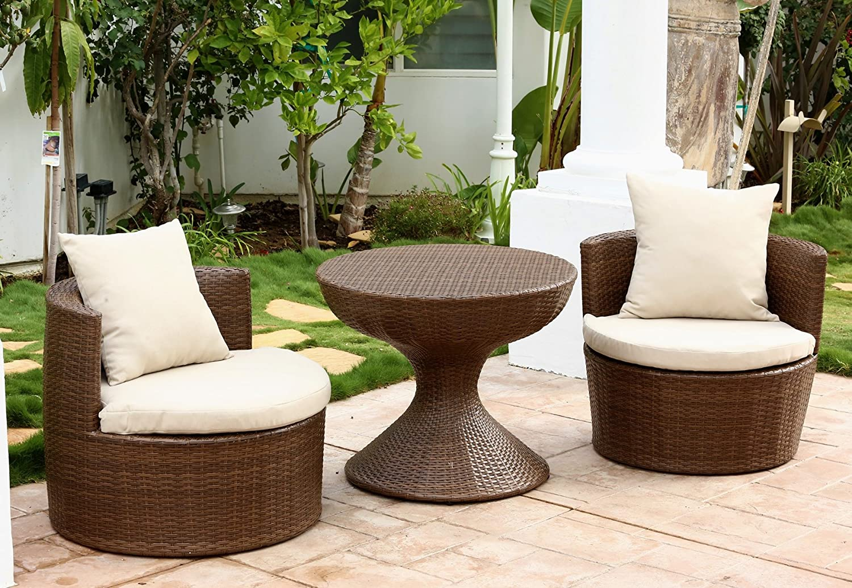 Exceptional Amazon.com : Abbyson Palermo Outdoor Wicker 3 Piece Chair Set, Brown :  Garden U0026 Outdoor