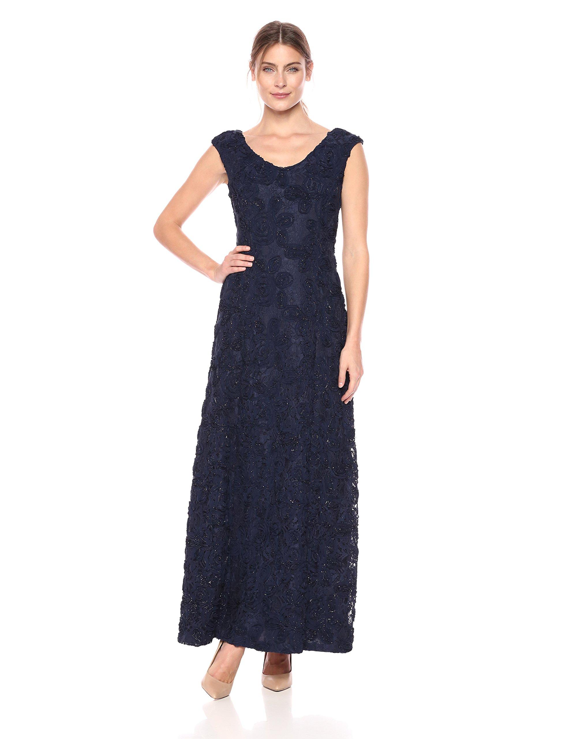 Alex Evenings Women's 14 Long A-Line Rosette Dress with Short Sleeves Sequin Detail, Navy Cap, 14