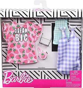 Amazon.es: Barbie Pack de Accesorios de Moda Vestido con Estampados de Fresas (Mattel GHX61), color/modelo surtido ...