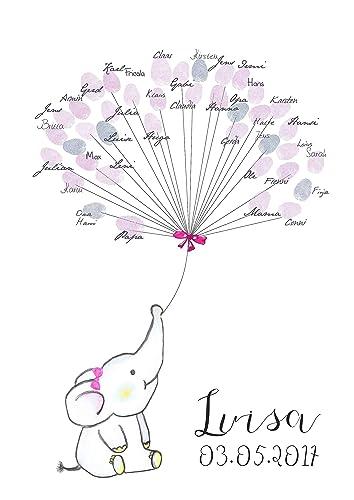 Geschenk Personalisiert Geburt Taufe Gästebuch A3 Fingerabdruckbaum Baby Elefant Mädchen