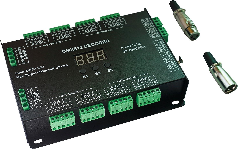 32Channel 96a RGBW DMX 512LED incorporados controlador DMX Dimmer DC5–24V RGBW RGB LED Light 8Bit/16Bit