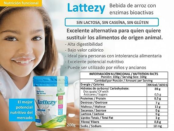 LATTEZI - Leche de arroz con enzimas bioactivas: Amazon.es ...