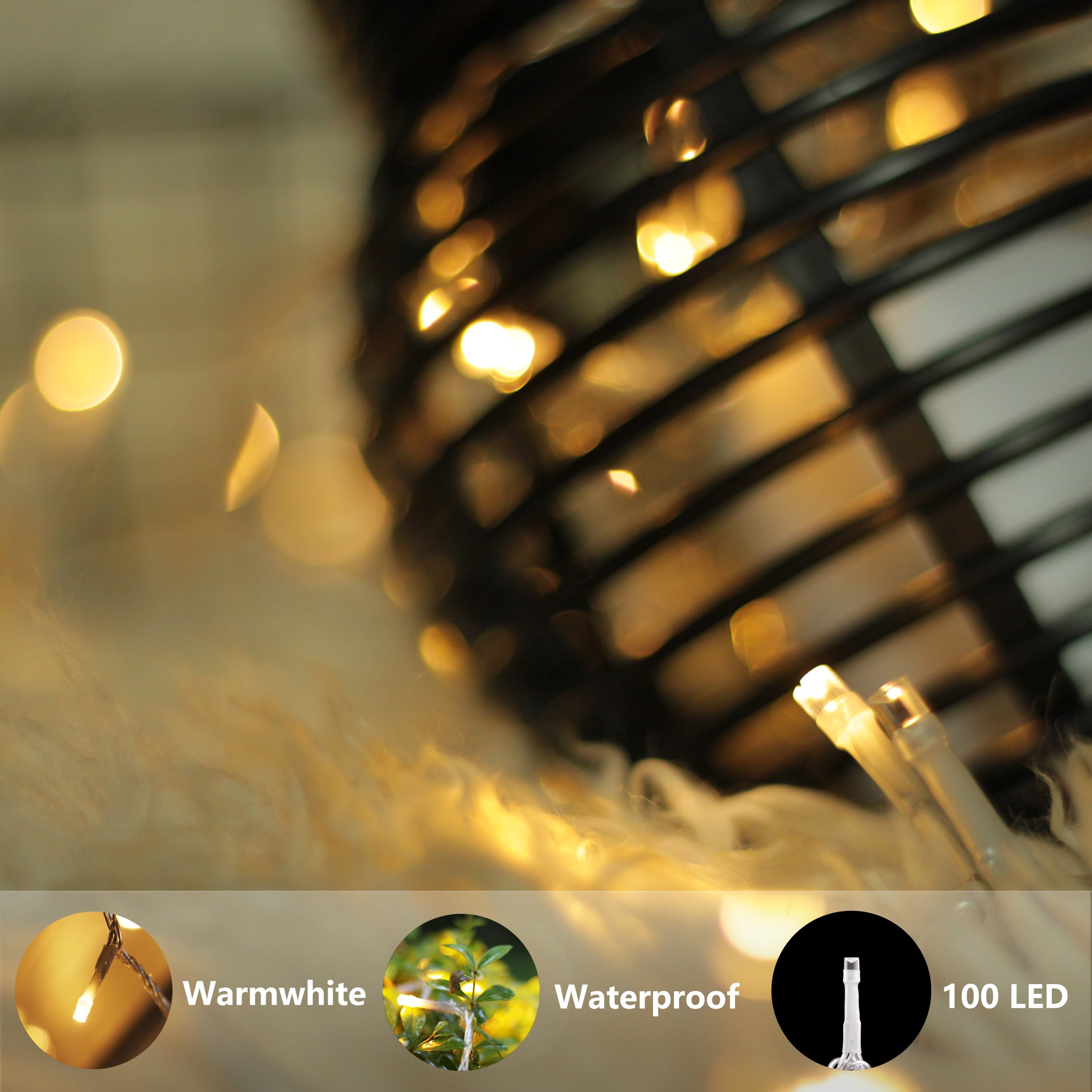 LouisChoice Extension Set of myCozyLite LED String Lights, 33 Ft, 100 LED, Waterproof with Male and Female Plug, Indoor & Outdoor Use (Transformer NOT Included) by LouisChoice (Image #3)