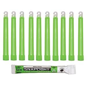 Cyalume Bâton lumineux vert SnapLight Glow Sticks 15cm, Light Sticks très lumineux avec durée de 12 heures (Boite de 10)