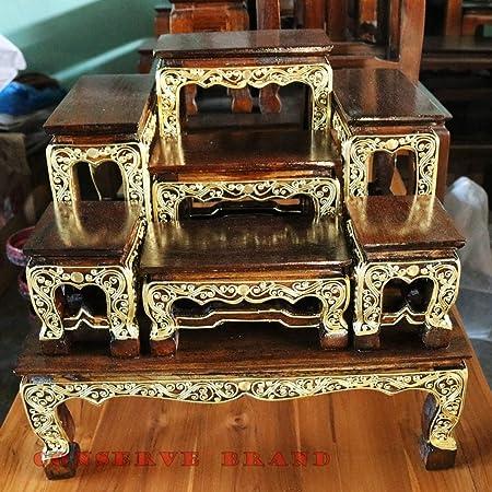 Thailand : Set Of Altar Table, Cradle Buddha Made Of Teak Wood Size ...