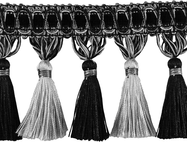 Black D/ÉCOPRO 5 Yard Value Pack of Elegant 3 3//4 inch Long Tassel Fringe Silver Grey SGB 15 Ft // 4.5 Meters