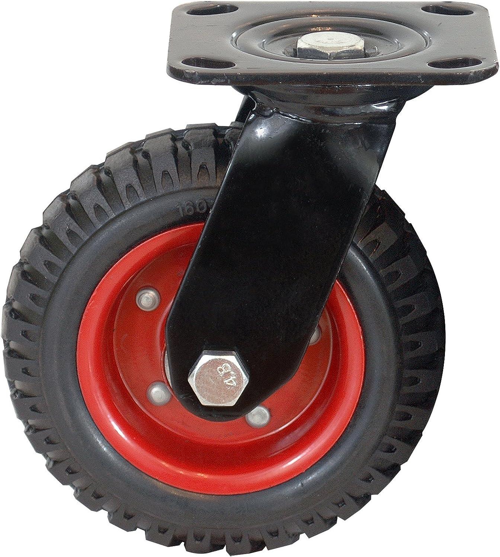 POWERTEC 17051 Swivel Heavy Duty Industrial Caster, 8-inch, Black