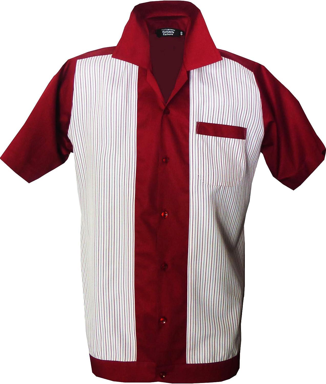 Rockabilly Fashions - Camisa informal para hombre, talla S a 3XL, diseño retro vintage, color rojo, blanco y gris: Amazon.es: Ropa y accesorios