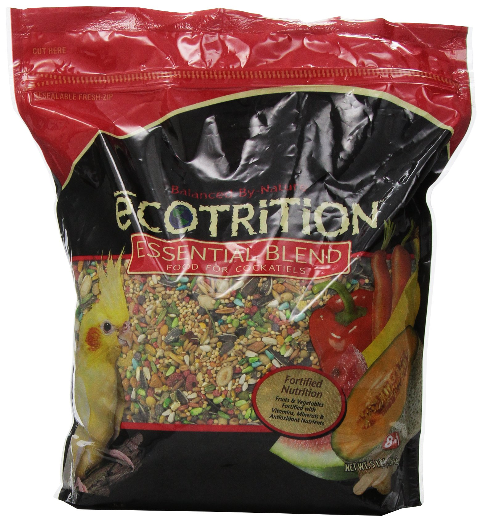 Ecotrition Essential Blend Food For Cockatiels, 5 Pounds, Resealable Bag