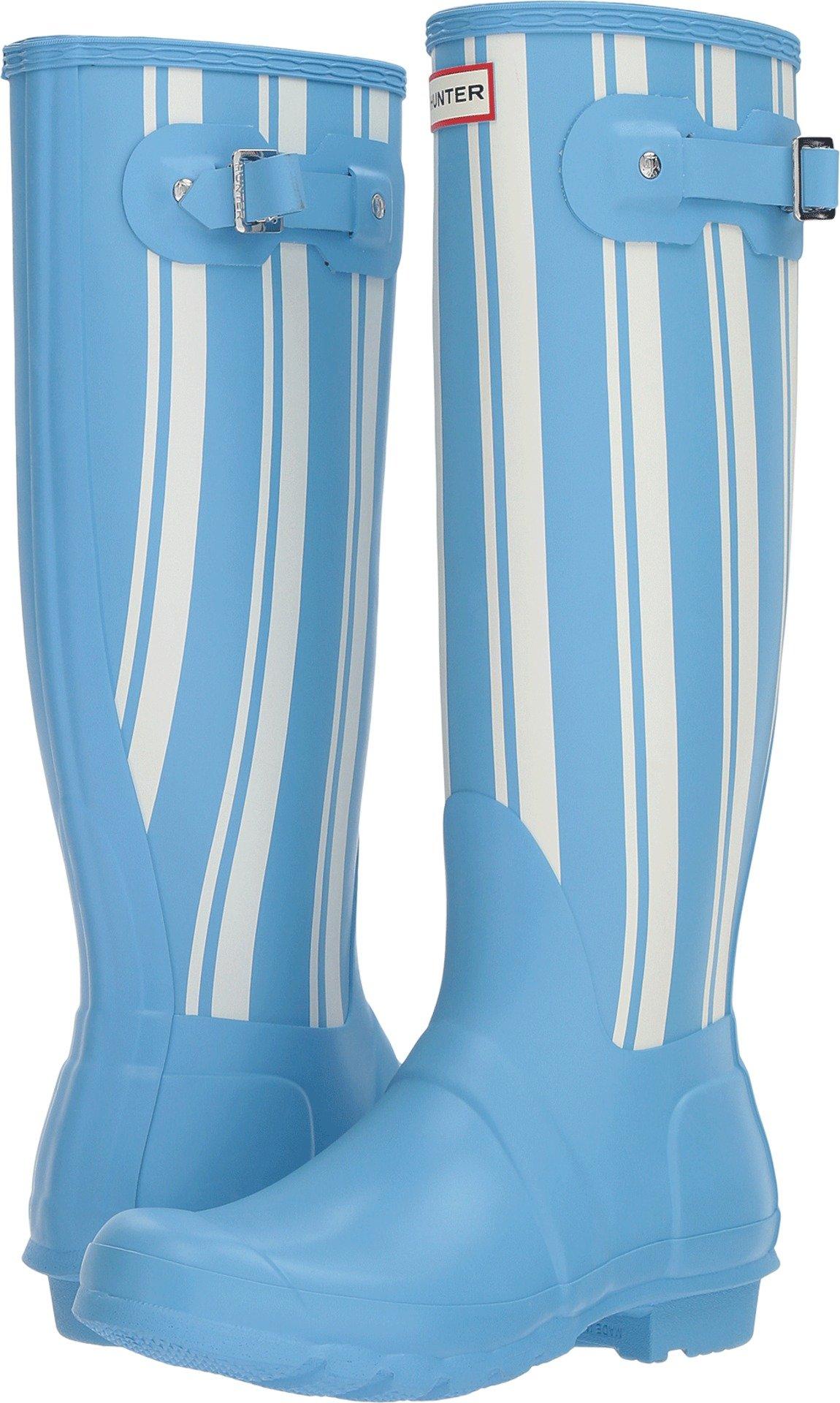 Hunter Women's Original Garden Stripe Tall Rain Boots Forget Me Not/White 5 M US