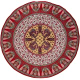 """Floral Peacock Round Cotton Tablecloth 72"""" Red"""