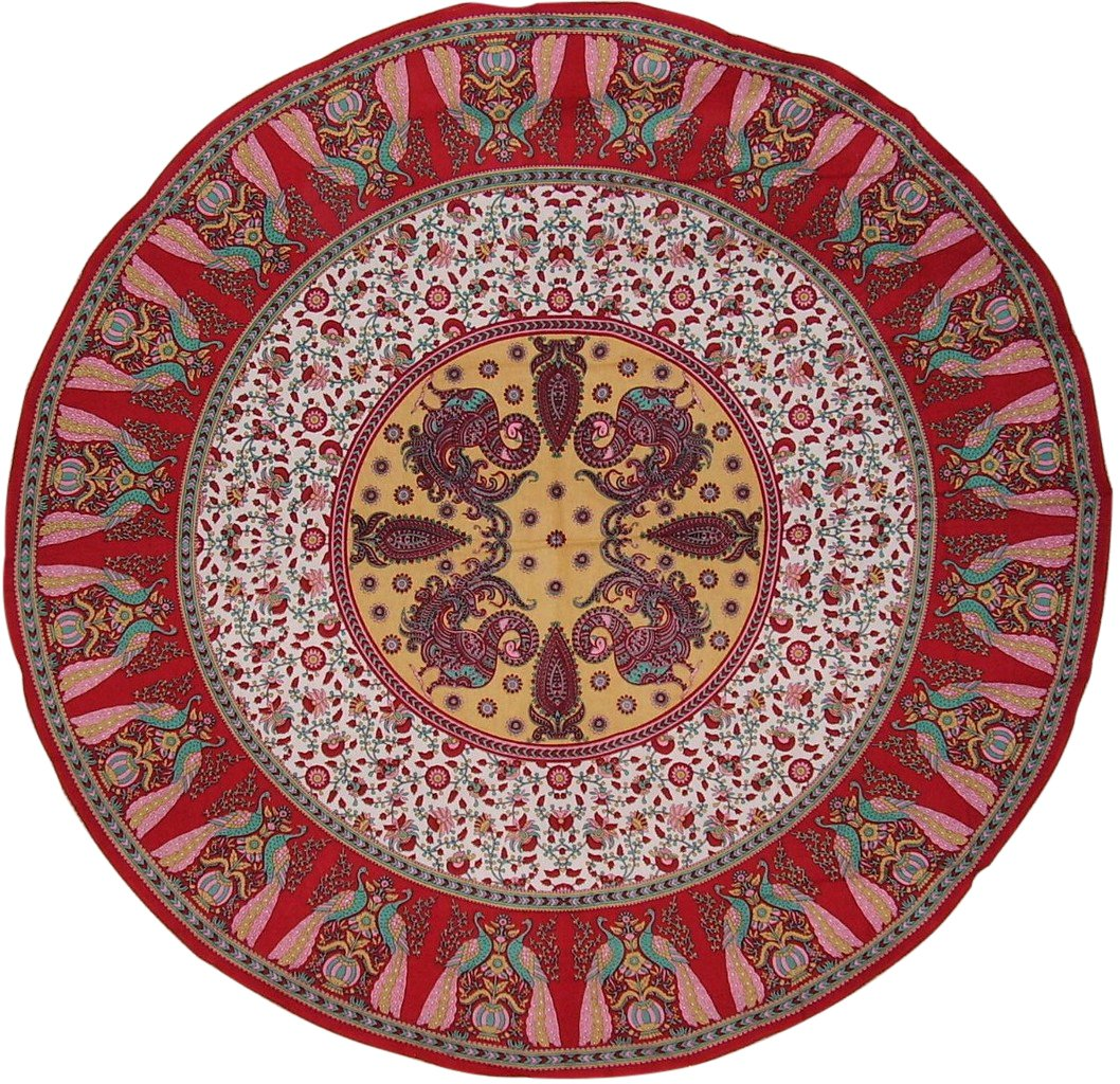 Floral Peacock Round Cotton Tablecloth 72'' Red