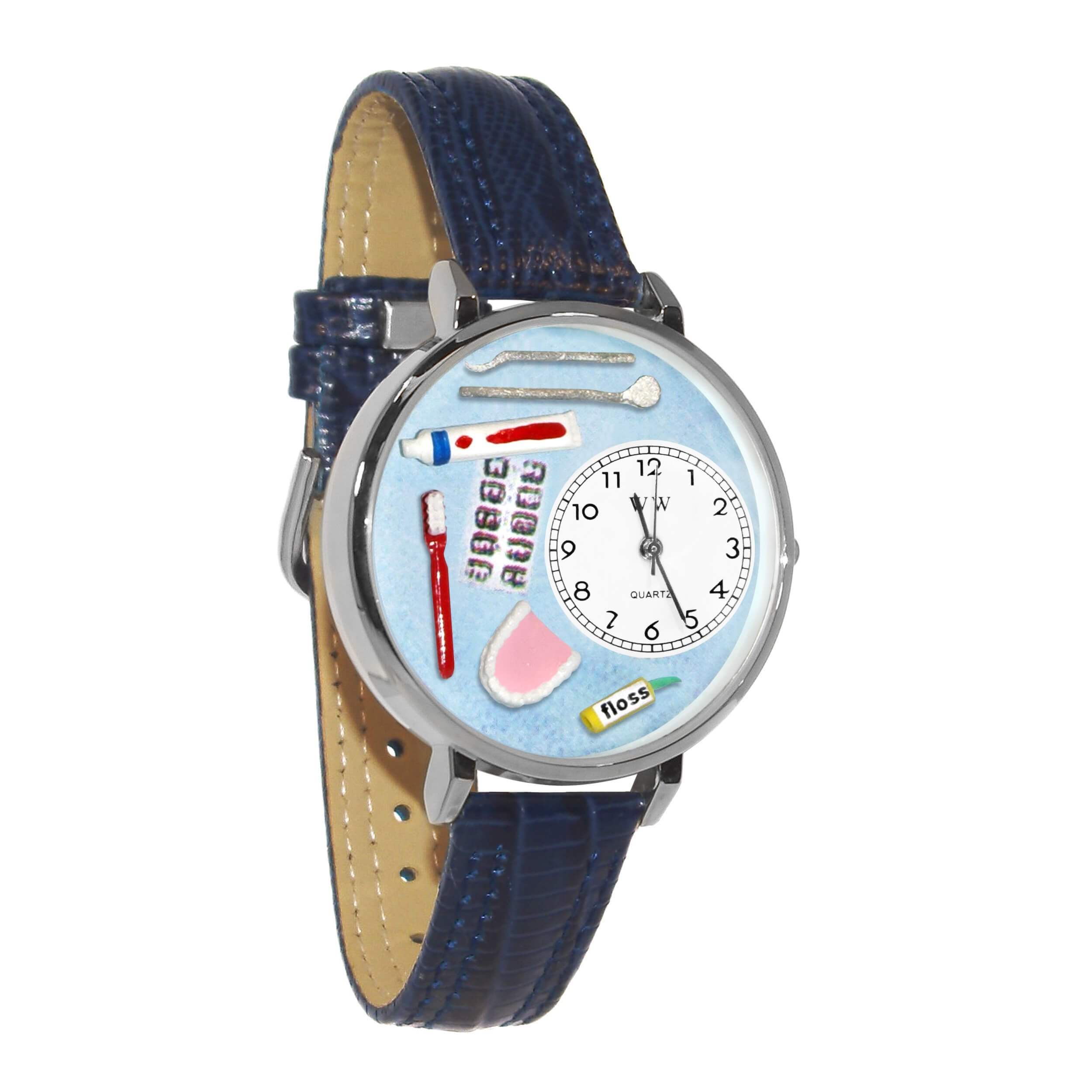 Whimsical Watches Unisex U0620001 Dentist Baby Navy Blue Leather Watch