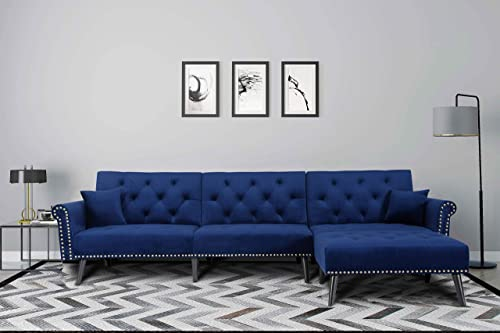 Mid Century Upholstered Sectional Sofa Futon Couch with Reversible Chaise with Adjustable Back Sofa Bed Navy Blue