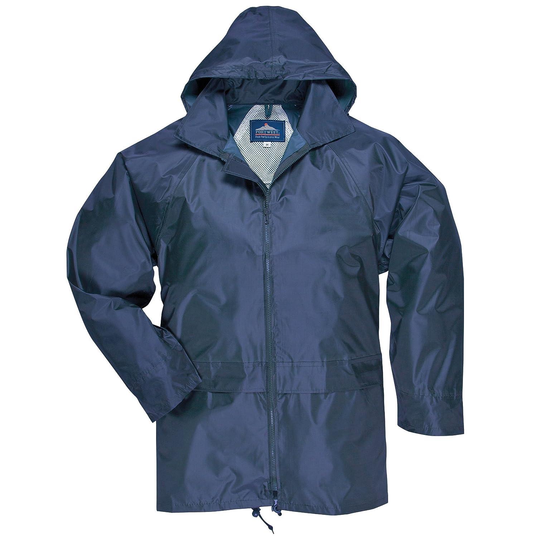 (ポートウエスト) Portwest メンズ クラシック アウトドアレインコートフード付き レインジャケット 防水ウォータープルーフアウター ワークウェア アウトドア 作業用コート 上着 オーバー 男性用 B01EB95ETW 5L|ネイビー ネイビー 5L