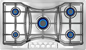 """Empava 36"""" Stainless Steel with 5 Burners Gas Cooktop, 36 Inch"""