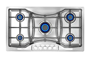 "Empava 36"" Bulit-in Stainless Steel Gas Cooktops 5 Italy Sabaf Burners LPG/NG Convertible Stove, 36 Inch"