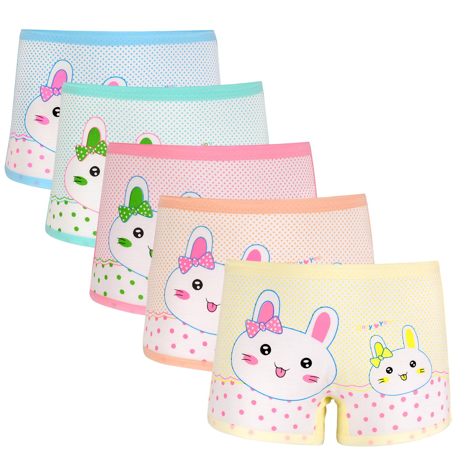my case diy store 5 Pack Girls' Cute Cartoon Panties Toddler Rabbit Underwear Bunny Boyshort Hipster Kids Briefs 2-11 Years (Multicolor, L(3-5 Years)