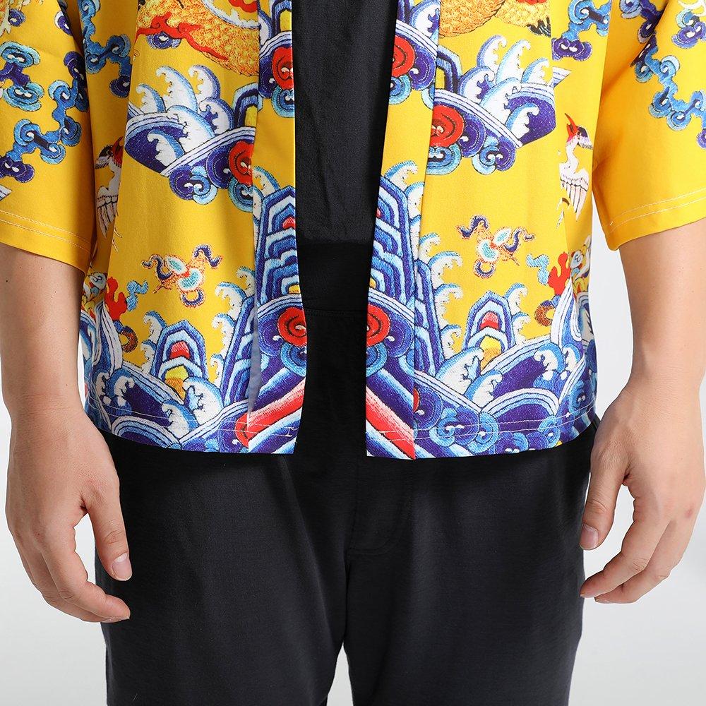 Men Japanese Yukata Coat Kimono Outwear Vintage Loose Top Chinese Dragon by Hao Run (Image #8)
