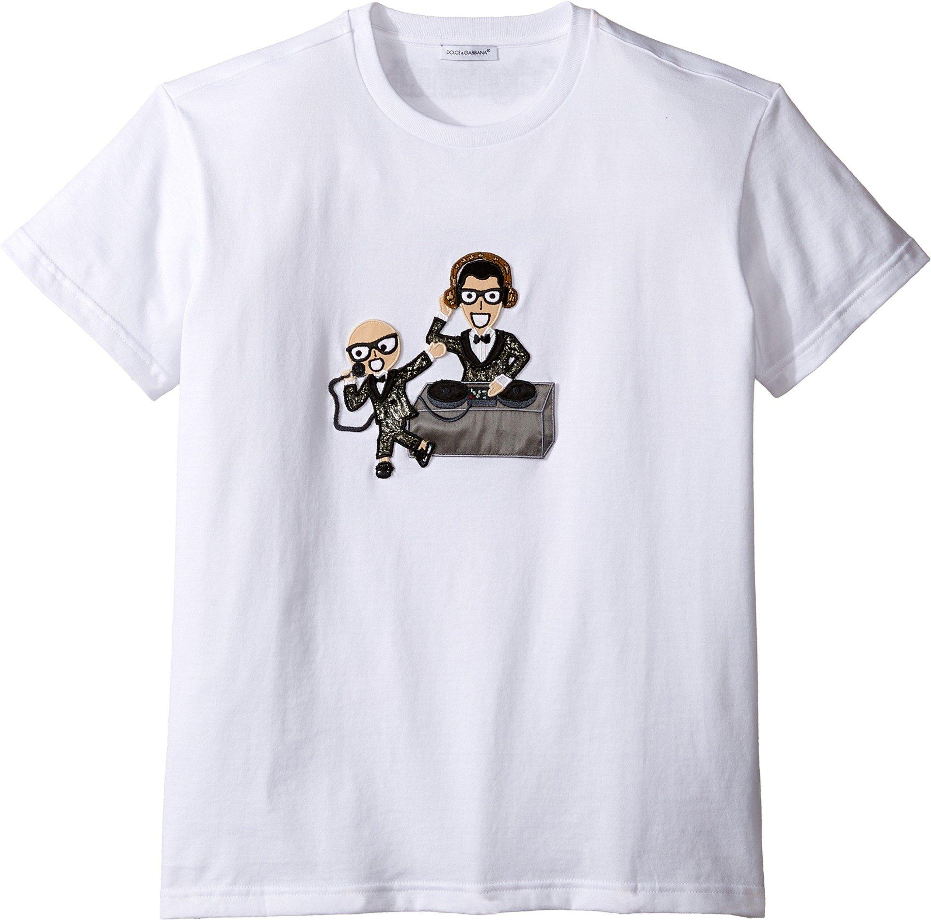 Dolce & Gabbana Kids Boy's Designers Tee (Big Kids) White Print T-Shirt
