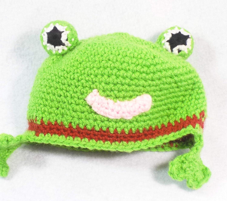 14979a338ea Amazon.com  Handmade Baby Infant Frog Beanie Hat