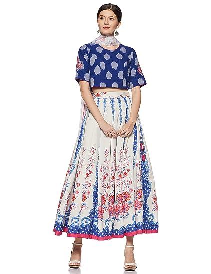 f3f9569b0c3 BIBA Women s Cotton Straight Salwar Suit Set (SKD5875 Blue Off-White 32)