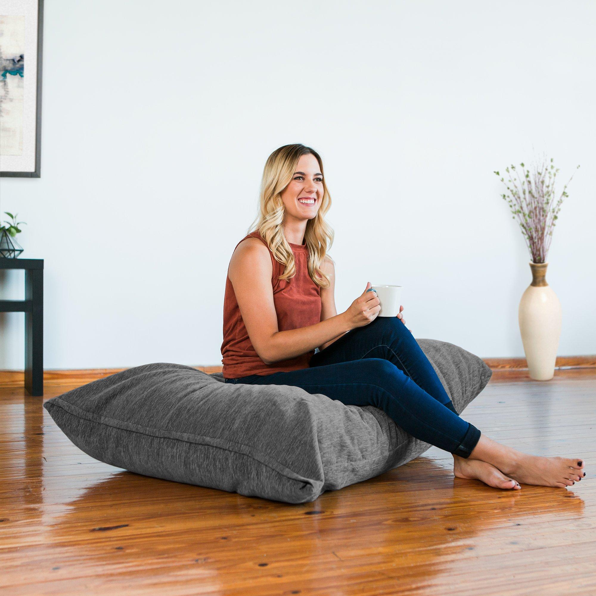 JaxxPillow Saxx 3.5 Foot Giant Décor Floor Pillow, Premium Chenille Cover Grey by Jaxx