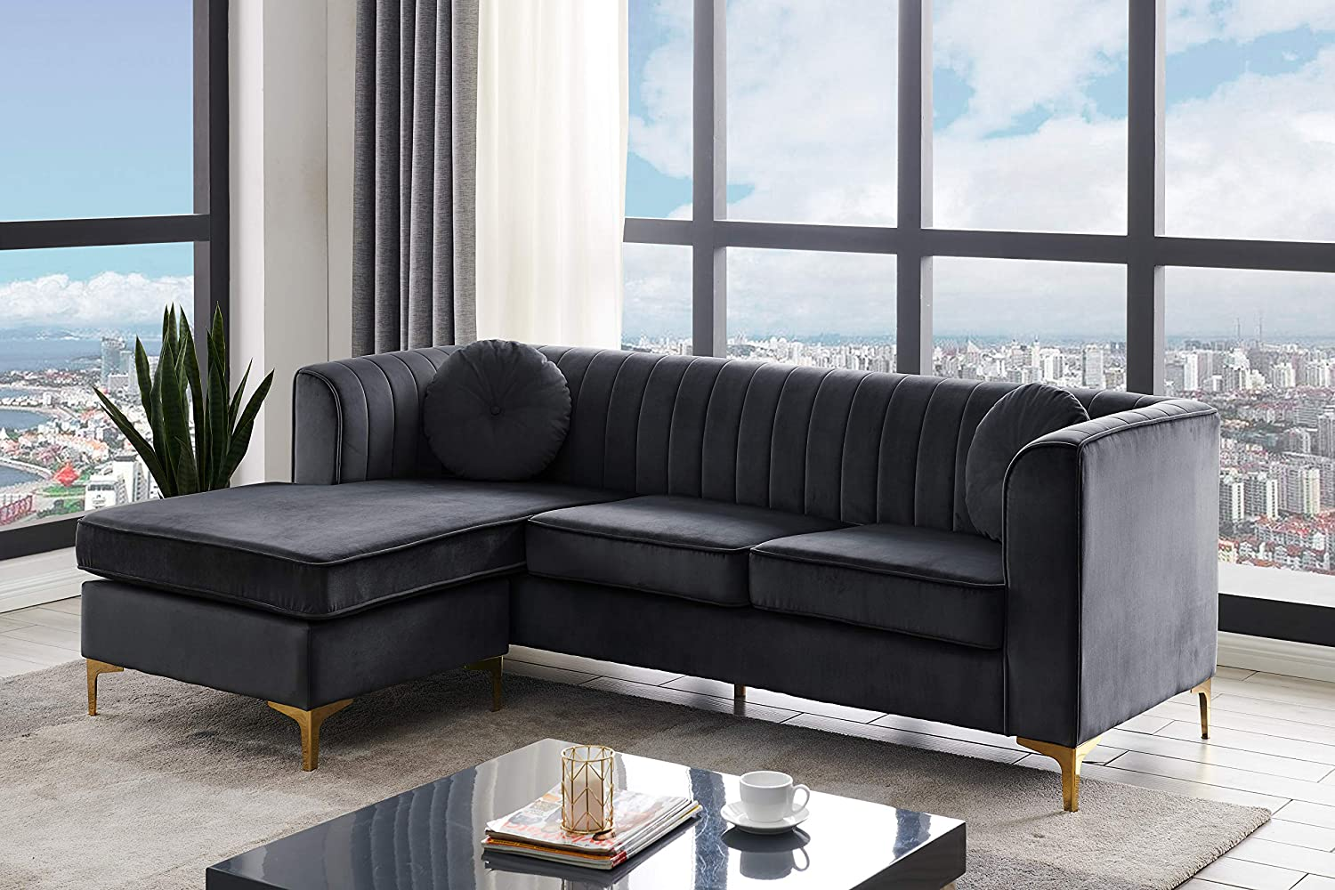 Amazon Com Iconic Home Brasilia Modular Chaise Sectional Sofa Velvet Upholstered Vertical Channel Quilted Seat Back Solid Gold Tone Metal Y Legs With 2 Throw Pillows Modern Contemporary Taupe Black Furniture Decor