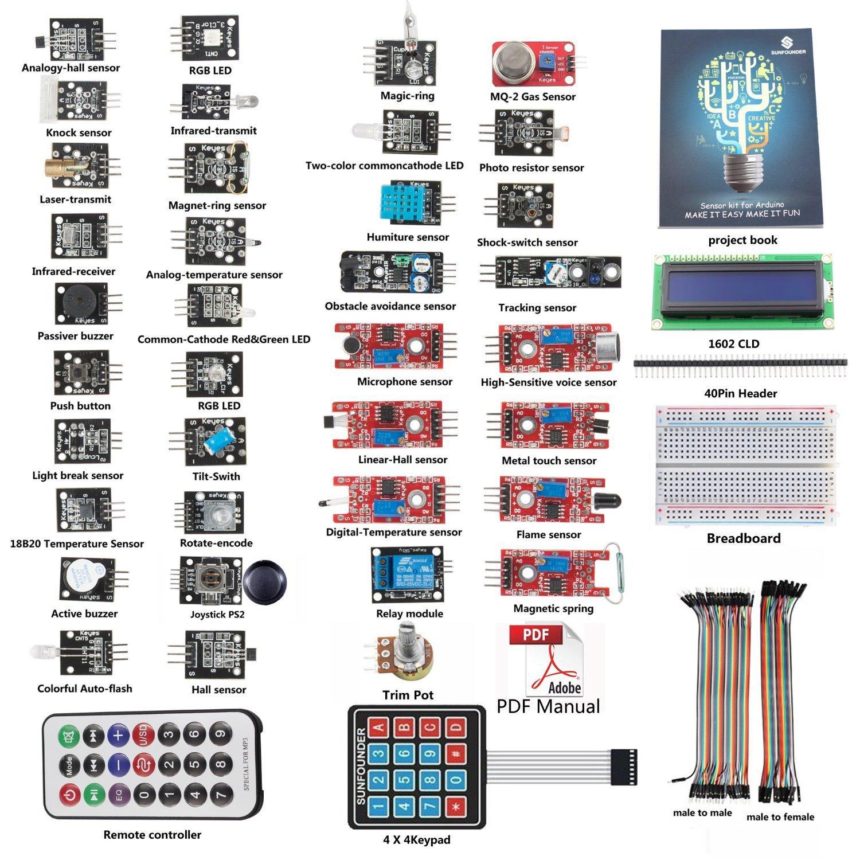SunFounder Basic Sensor Kit for Arduino UNO R3 Mega2560 Mega328 Nano (without controller) - Including 87 Page Instructions Book by SunFounder (Image #1)