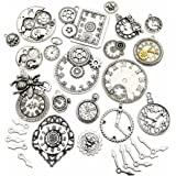 30pcs Antique Silver Mix Skeleton Steampunk Clock Face Watch Gear Cog Wheel Pendant Charms Jewelry Makin for Crafting, Jewelry Findings Making Accessory for DIY Necklace Bracelet M78