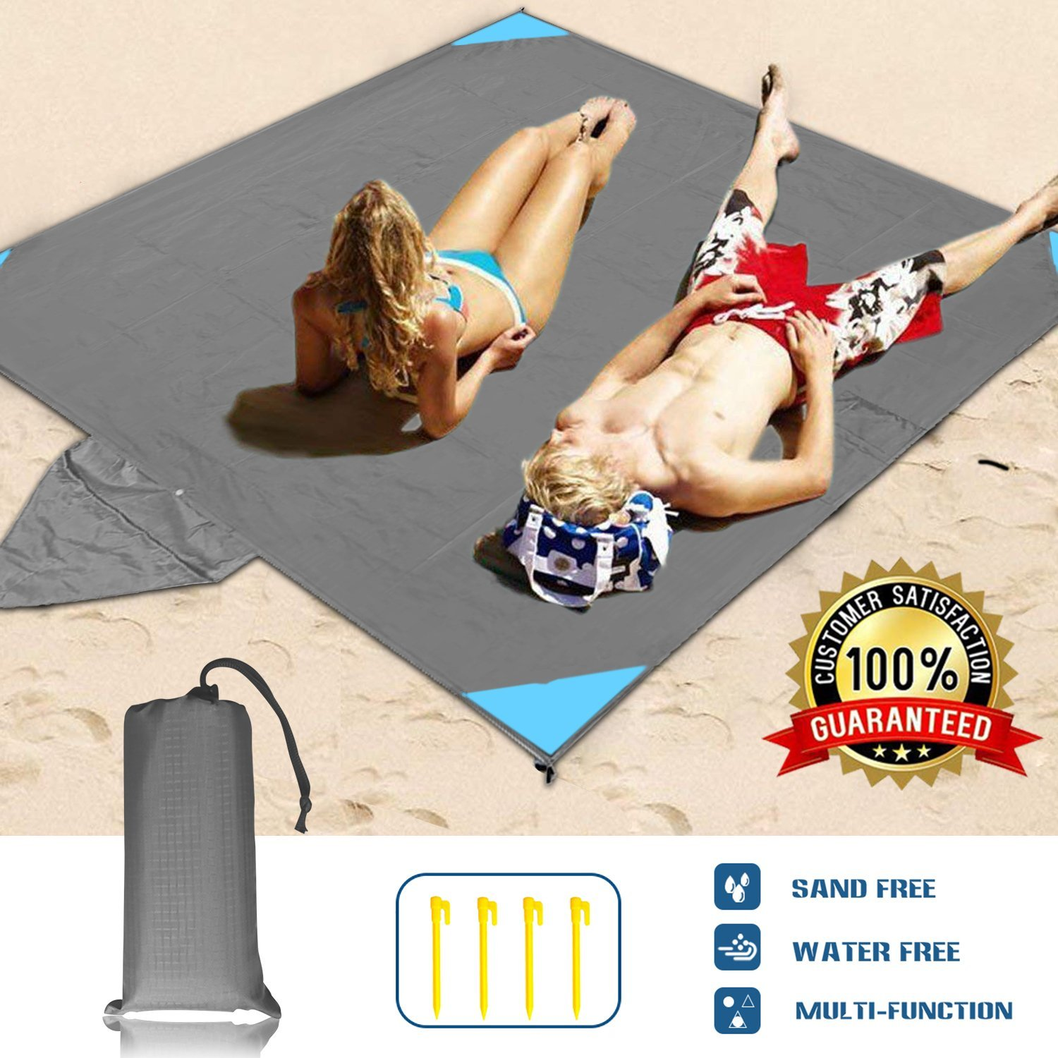 WELTEAYO Beach Blanket, Portable Lightweight Waterproof Sandproof Pocket Picnic Blanket - 140cm x 209cm Large Picnic Mat and for Outdoor Travel Camping Hiking Activities