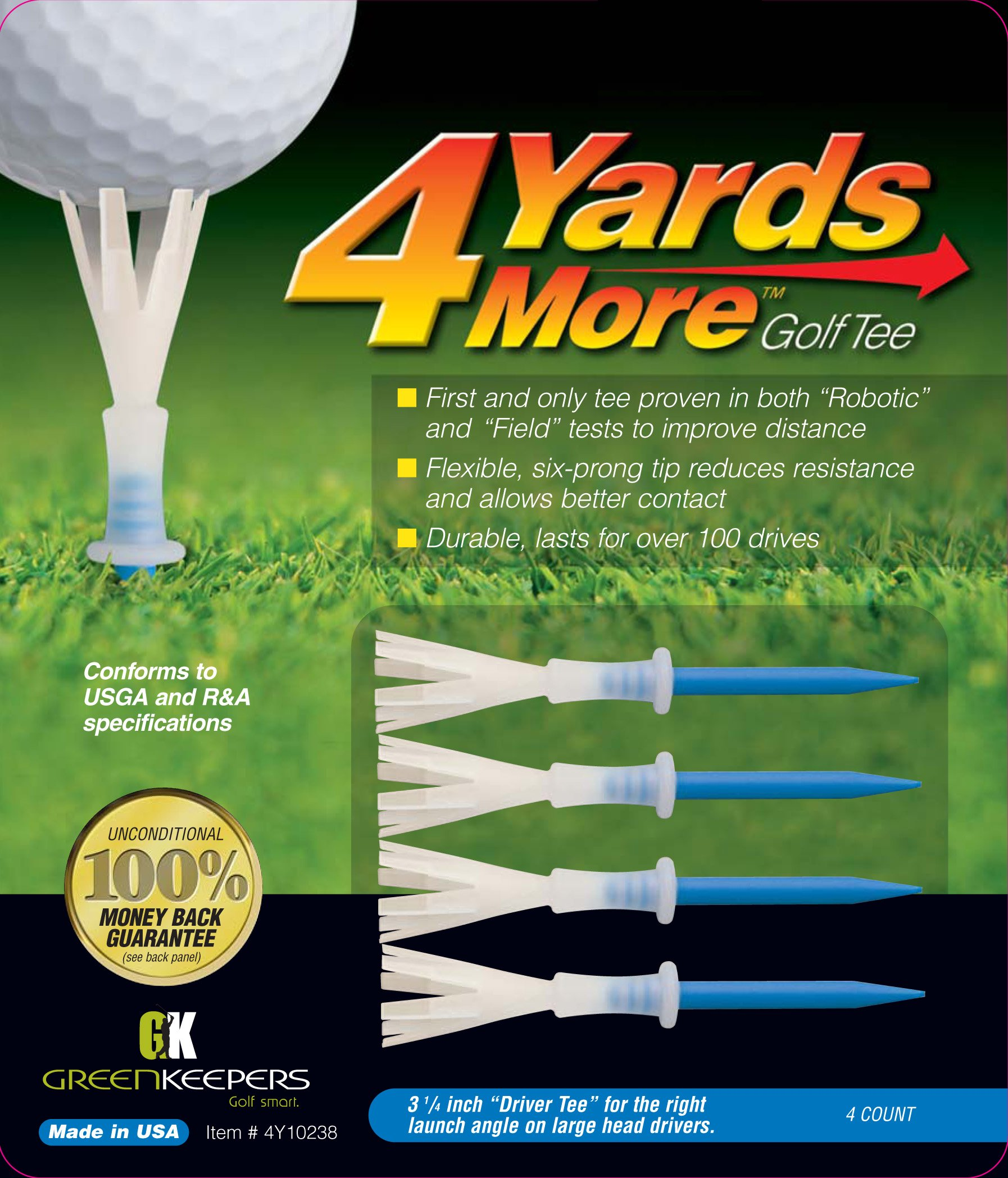 4 Yards More Golf Tee - 3 1/4'' Driver (4 Blue Tees)