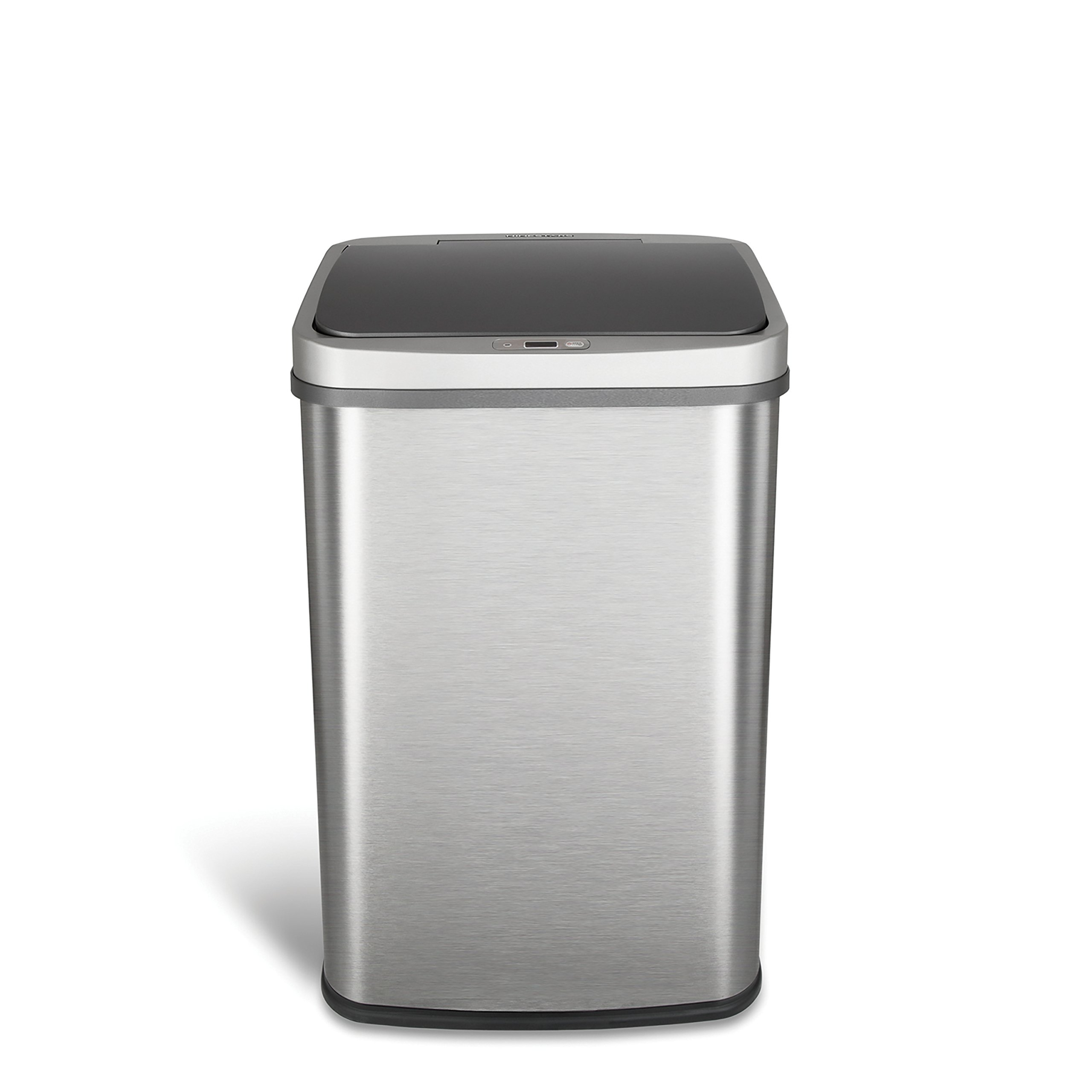Ninestars DZT-50-28BR Automatic Touchless Infrared Motion Sensor Trash Can, 13 Gal 50L, Stainless Steel Base (Rectangular, Brush Silver Lid)