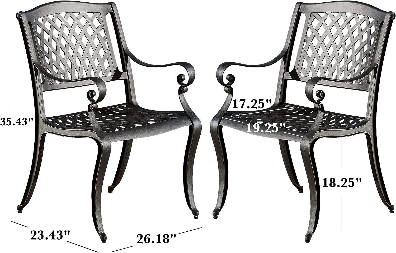 Christopher Knight Home Hallandale Outdoor Cast Aluminum Chairs, 2-Pcs Set, Black Sand: Garden & Outdoor