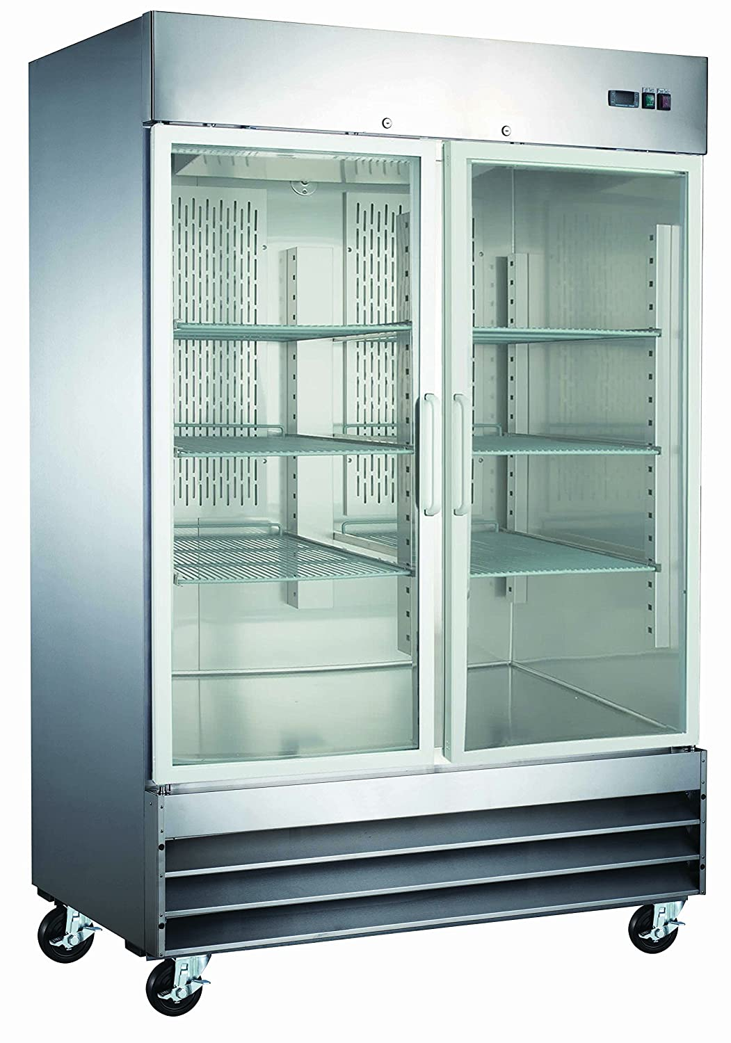 Two Door Glass Front Stainless Steel Commercial Refrigerator